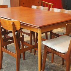 Large teak and oak extendable dining table by Karl Erik Ekselius. Findahl dining chairs restored and ready for upholstery selection. Dining Chairs, Dining Room, Mid Century Dining, Extendable Dining Table, Teak, Restoration, Upholstery, Photo And Video, Furniture