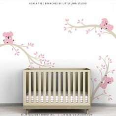 Baby Girl Wall Decal Pastel Wall Decor Pink Girl Room Wall Art - Koala Tree Branches by LittleLion Studio