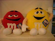 "M&M'S PILLOW BUDDIES LARGE 24"" SOFT PLUSH TOYS RED YELLOW M&M'S MACHINE WASHABLE"