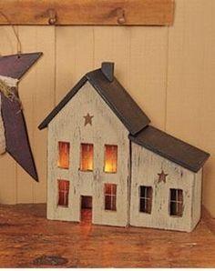 Primitive Saltbox Decor | Primitive Lighted Saltbox House | Primitive Saltbox Décor ... | craft ...