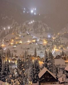 Winter in the mountains at night