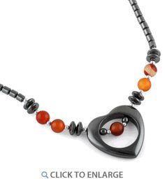 """18"""" Open Heart Carnelian Stone #HematiteNecklace * $6.41 Dyi Necklace, Hematite Necklace, Washer Necklace, Leather Cuffs, Leather Jewelry, Metal Jewelry, Diy Jewelry, Jewlery, Jewelry Necklaces"""