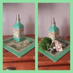 Dienblad en olielamp bewerkt met servetten