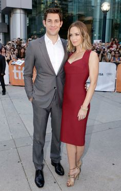 "Emily Blunt and husband John Krasinski attend the ""Looper"" opening night gala premiere during the 2012 Toronto International Film Festival on September 6, 2012 in Toronto, Canada."
