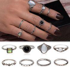 USA Retro 8pcs Boho Antique Black Opal Finger Knuckle Band Rings Set Jewelry