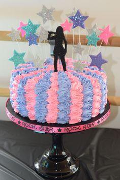 and the Popstar Cake Rockstar Birthday, Dance Party Birthday, Barbie Birthday, 10th Birthday Parties, Barbie Party, Birthday Cake Girls, 8th Birthday, Disco Cake, Disco Party