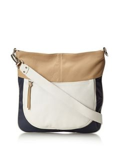 Luciana Verde Womens Rochelle Shoulder Bag (Navy/Sand/White)