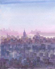 New York city at sunset. New York Cityscape painting. by madareli, $65.00