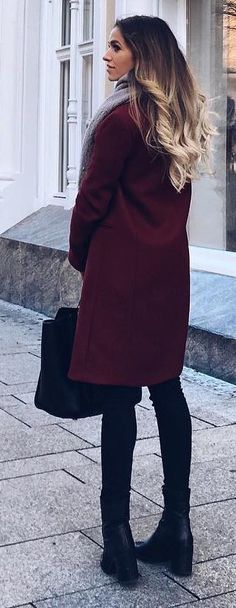 #winter #fashion / Burgundy Coat / Black Booties / Black Leather Tote