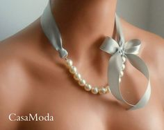 Pearl And Ribbon Necklace Shabby Chic Weddings by casamoda on Etsy
