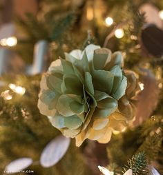 Gold Tissue Pom Pom Tree Ornaments