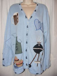 Quacker Factory Blue Grill Hamburgers Summer Cook Out Cardigan Sweater 1X #QuackerFactory #Cardigan #grill #cookout #summer