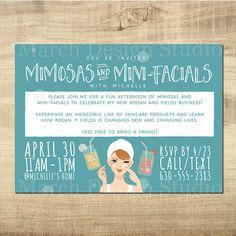 Rodan and Fields Invitation - Digital invitation - Big Business Launch - Mimosas and Mini Facials - Rodan and Fields Party