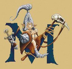 Cross Stitch Chart Illuminated Letter M - Knight by Pascal Moguerou Fantasy Art