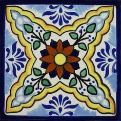 Ceramic Mexican Tile – Flower of the Sea Ceramic Mexican Tile – Flower of the Sea – Mexican Tile Designs – Pool Tile Painting Ceramic Tiles, Tile Art, Vitromosaico Ideas, Mexican Ceramics, Tuile, Talavera Pottery, Mexican Folk Art, Mexican Tiles, Decorative Tile