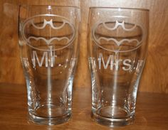 Two Etched Batman Wedding Pint Glasses by MasonMountain on Etsy, $20.00