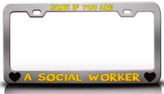 HONK IF YOU ARE A SOCIAL WORKER Steel Metal License Plate Frame Chrome : Amazon.com : Automotive