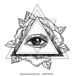 stock-vector-all-seeing-eye-pyramid-symbol-with-rose-flower-sacred-geometry-tattoo-flash-vector-illustration-482276446.jpg (450×470)