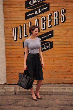 Mesh Skirt - Black and Grey outfit ideas - Céline Phantom croc - High waisted skirt and crop top - Christian Louboutin leopard pumps