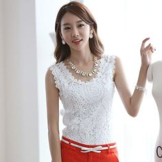 Cheap shirt blank, Buy Quality lace shirt directly from China shirts skull Suppliers: BOBOKATEER plus size lace blouse white shirt women blouses summer tops blusas mujer de moda 2017 slim o-neck sexy top haut femme White Lace Blouse, Lace Camisole, White Shirts Women, Blouses For Women, Sleeveless Outfit, Lace Vest, Spring Shirts, Lace Tops, Lace Blouses