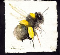 Bumblebee Painting original watercolor art by ORIGINALONLY on Etsy