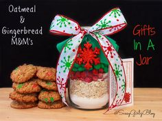 #DIY #Gifts In A Jar – #Gingerbread M&M's and Oatmeal Cookie Mix   Sassy Girlz Blog