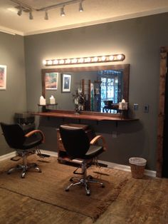 Makeup Bar at Rapture Organic Salon Makeup Bar, Salon Ideas, Corner Desk, Salons, Beauty, Furniture, Home Decor, Corner Table, Living Room Ideas