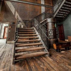 Here's another picture from the Ironworks Hotel in Beloit Wisconsin. Love the industrial finishes with our Mountain Collection Douglas Fir flooring. Retro Industrial, Industrial House, Industrial Table, Industrial Farmhouse, Industrial Furniture, Loft Design, House Design, Design Design, Douglas Fir Wood