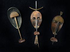 Peter Macchiarini: Noseless, Bowman and Forkman Mask Brooches (2001)