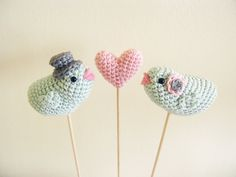 Mint Blue Bird Wedding Cake Topper Crochet Bride Groom Heart by Cherrytime. $39.00, via Etsy.