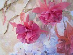free hanging fuchias in silk ribbon