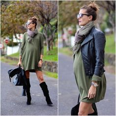 http://i.styleoholic.com/2016/08/27-olive-green-dress-a-plaid-scarf-a-leather-jacket-and-suede-boots.jpg