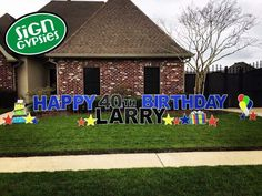 Celebrate a Happy Birthday in a BIG way.  Yard Greetings by Sign Gypsies Louisville.  #SignLadyofLouisville event planning yard sign gypsies  Happy Birthday. http://www.signgypsies.com/louisville.html