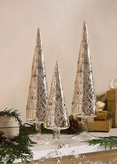 Elegant Silver Glittered Glass Holiday Cone Trees $23