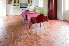 An english terracotta tile sourced from the vale of york Terracotta Floor, Stone Flooring, Travertine, Interior Design Kitchen, Floors, Tile Floor, Tiles, Rustic, Terra Cotta