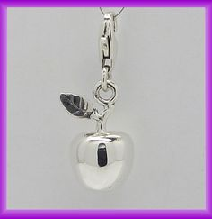 Solid silver Apple, clip on charm. NY memory