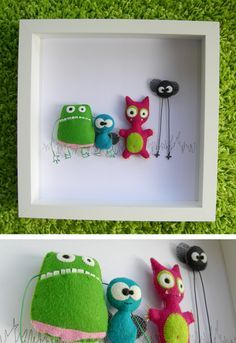 Framed stuffies idea - instead of monsters, use frames to house the small felt stuffies with velcro.  Art and a toy all in one (;