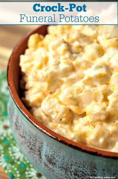 "Crock-Pot Funeral Potatoes - A Midwestern favorite side dish often taken to families after a funeral these Crock-Pot Funeral Potatoes are also known as simply ""cheesy potatoes"". This is a wonderfully delicious side dish recipe perfect for any potluck or family get-together. [Low Sugar] #CrockPotLadies #CrockPot #SlowCooker #Recipes #SideDish #Easter #Christmas #Thanksgiving Crockpot Side Dishes, Potluck Dishes, Potluck Recipes, Side Dish Recipes, Food Dishes, Cooking Recipes, Easter Recipes, Skillet Recipes, Pizza Recipes"