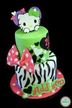 Hello Kitty Zebra Polka Dot Cake!