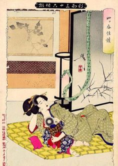 The Yotsuya Ghost Story by Yoshitoshi (1892). The lady Oiwa is reading to her little boy and sees a ribbon that looks like a snake. This omen foretells the coming drama of murder and revenge which starts when her husband wants to marry another woman, and poisons Oiwa.