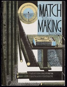 Match Making, lithograph cover by Paul Nash for Bryant & May brochure, 1931. This was one of the many celebrated promotional booklets created by Curwen Press in the role of advertising agency. Tate Gallery archives.