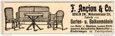 Original-Werbung/Inserat/ Anzeige 1902 - GARTEN-UND BALKONMÖBEL ANCION & CO. BERLIN ca. 20 x 90 mm