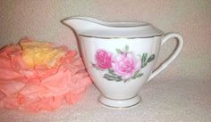Vintage Rose Creamer Pitcher, Creamer Pitcher with Flowers, White Ceramic Pitcher Pink Roses, Shabby Chic Creamer, Shabby, Cottage Chic by JunkYardBlonde on Etsy #shabbychic #pinkroses #vintagecreamer #creamerpitcher #vintagechina
