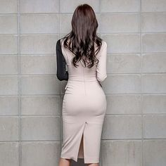 Color-blocked V-neck Slim Belted Slit Dress Tight Dresses, Cheap Dresses, Sexy Dresses, Office Attire Women, Sexy Hips, Business Dresses, Sexy Skirt, Slit Dress, Beautiful Asian Girls