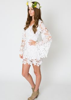 LACE Mini Dress BELL SLEEVE Bohemian Wedding Destination Casual Beach Vintage Inspired Hippie Boho Ivory White I Think Would Like