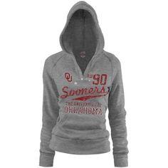 Oklahoma Sooners Ladies Ash Rugby Distressed Deep V-neck Hoodie Sweatshirt    #Fanatics