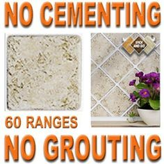 TRAVERTINE: Box of 18 tiles 4x4 SOLID PEEL & STICK ON TILES apply over tiles or onto the wall ! by STICK AND GO TILES. $19.99. No Grouting. No Cementing. 18 tiles per box. Covers 2 Sq.Ft. (0.2) per box. STICK AND GO TILES are self adhesive wall tiles that look and feel just like ceramic tiles - but there is NO CEMENTING & NO GROUTING required ! Stick and Go tiles aren't just for walls, they can be used on any flat, clean surface and are perfect for tiling any area quickly. T...