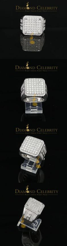 Rings 137856: 10K White Gold Finish Mens Silver Ring Size 9 With Lab Created Diamonds BUY IT NOW ONLY: $89.99