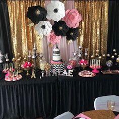 Pink/ Hot pink/Fushia/ Light Pink/ Giant and Gold Paper Flower Backdrop Paper Flower Backdrop, Giant Paper Flowers, Balloon Backdrop, Purple Birthday, 65th Birthday, Parisian Party, Rose Fushia, Grad Parties, Paris Birthday Parties