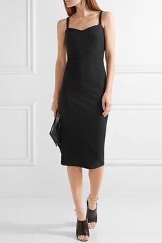 Max Mara - Ribbed Stretch-knit Midi Dress - Black - UK14